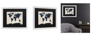 "Trademark Global Michael Tompsett World Map - Navy Matted Framed Art - 20"" x 25"""