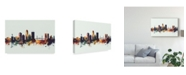 "Trademark Global Michael Tompsett Jacksonville Florida Skyline IV Canvas Art - 15"" x 20"""