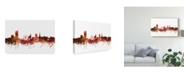 "Trademark Global Michael Tompsett Sheffield England Skyline Red Canvas Art - 15"" x 20"""