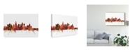 "Trademark Global Michael Tompsett Los Angeles California Skyline Red Canvas Art - 15"" x 20"""
