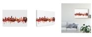"Trademark Global Michael Tompsett Honolulu Hawaii Skyline Red Canvas Art - 20"" x 25"""