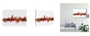 """Trademark Global Michael Tompsett Adelaide Australia Skyline Red Canvas Art - 15"""" x 20"""""""