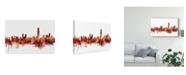 """Trademark Global Michael Tompsett Hong Kong Skyline Red Canvas Art - 15"""" x 20"""""""