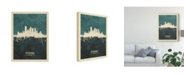 "Trademark Global Michael Tompsett Pittsburgh Pennsylvania Skyline Teal Canvas Art - 15"" x 20"""