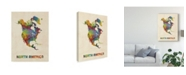 "Trademark Global Michael Tompsett North America Continent Watercolor Map Canvas Art - 15"" x 20"""