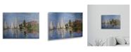 "Trademark Global Claude Monet Regatta at Argenteuil Floating Brushed Aluminum Art - 22"" x 25"""