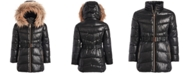 Michael Kors Big Girls Belted Puffer Jacket With Removable Faux-Fur-Trimmed Hood