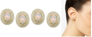 Macy's Opal (7/8 ct. t.w.) & Diamond (1/3 ct. t.w.) Stud Earrings in 14k Gold