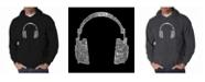 LA Pop Art Men's Word Art Hoodie - Headphones - 63 Genres of Music
