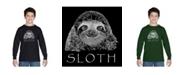 LA Pop Art Boy's Word Art Long Sleeve T-Shirt - Sloth