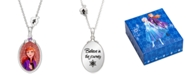 "Disney Children's Frozen Anna Crystal Pendant in Sterling Silver, 16"" + 2"" Extender"