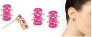 Macy's Certified Ruby (2-1/10 ct. t.w.) & Diamond (1/20 ct. t.w.) Stud Earrings in 14k Gold