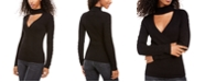 Hippie Rose Juniors' Mock-Neck Cutout Sweater