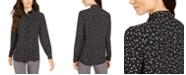 Anne Klein Dot-Print Button-Up Blouse