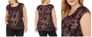 Calvin Klein Plus Size Metallic Floral Top