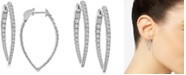 Macy's Diamond Teardrop In & Out Hoop Earrings (2 ct. t.w.) in 14k White Gold