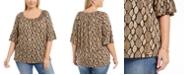 Michael Kors Plus Size Animal-Print Pleated Bell-Sleeve Top