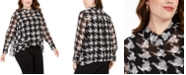 INC International Concepts INC Plus Size Houndstooth Ruffle-Front Top, Created For Macy's