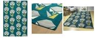 "Kaleen Origami ORG06-91 Teal 3'6"" x 5'3"" Area Rug"