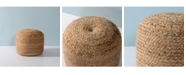 Livings Home and Garden Jute Upholstered Round Pouf Ottoman