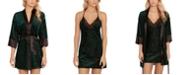 Linea Donatella Jacquard Velvet Chemise Nightgown & Wrap 2pc Set