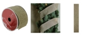 """Northlight Pack of 12 Faded Green and Brown Burlap Wired Christmas Craft Ribbon Spools - 2.5"""" x 120 Yards Total"""