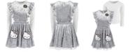 Hello Kitty Little Girls 2-Pc. Ruffled Velvet Pocket Dress & Top