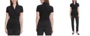 DKNY Petite Velvet Side-Ruched Top