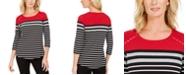 Karen Scott Sport Colorblocked Striped Grommet Top, Created For Macy's