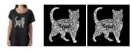 LA Pop Art Women's Dolman Cut Word Art Shirt - Cat