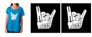 LA Pop Art Women's Dolman Cut Word Art Shirt - Heavy Metal