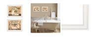 "Trendy Decor 4U Bath Powder Room 2-Piece Vignette by Becca Barton, White Frame, 13"" x 11"""