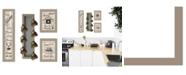 "Trendy Decor 4U Trendy Decor 4U Kitchen Collection VII 4-Piece Vignette with 7-Peg Mug Rack by Millwork Engineering, Taupe Frame, 10"" x 32"""