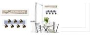 "Trendy Decor 4U The Kitchen Vignette 2-Piece Vignette with 7-Peg Mug Rack by Millwork Engineering, White Frame, 32"" x 7"""