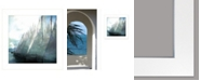 "Trendy Decor 4U Sailboat Marina I by Bluebird Barn Group, Ready to hang Framed Print, White Frame, 15"" x 15"""