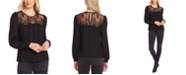 Vince Camuto Lace-Yoke Pleated-Front Top