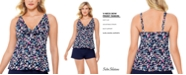 Swim Solutions Vintage Daisy Printed V-Neck Bow Tankini Top, Created for Macy's