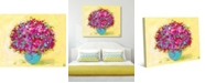 """Creative Gallery Magenta Flower Power Floral Bouquet Abstract 20"""" x 16"""" Canvas Wall Art Print"""