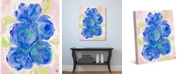 """Creative Gallery Watercolor Peonies in Blue Abstract 20"""" x 16"""" Canvas Wall Art Print"""