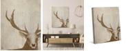 "Creative Gallery Neutral Watercolor Deer 36"" x 24"" Canvas Wall Art Print"