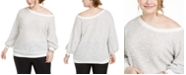 1.STATE Trendy Plus Size Off-The-Shoulder Eyelash Sweater