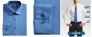 Jones New York Men's Slim-Fit Performance Stretch Cooling Tech Blue/White Rectangle-Print Dress Shirt