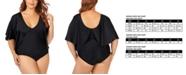 Raisins Curve Trendy Plus Size Juniors' Solid Stingray Flutter Sleeve One-Piece Swimsuit