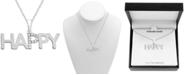 "Macy's Diamond ""Happy"" 18"" Pendant Necklace (1/10 ct. t.w.) in Sterling Silver"