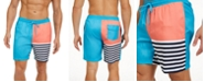 Club Room Men's Striped Colorblocked Swim Trunks, Created For Macy's
