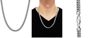 """Macy's Cuban Link 24"""" Chain Necklace in Sterling Silver"""