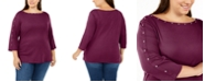 Karen Scott Plus Size Studded Boat-Neck Top, Created for Macy's
