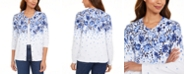 Karen Scott Petite Porcelain Cascade Printed Cardigan, Created for Macy's