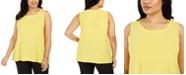 Kasper Plus Size Neckline-Cutout Bead-Trim Top