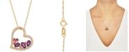 "Macy's Multi-Gemstone Floating Heart 18"" Pendant Necklace (1 ct. t.w.) in 14k Gold"